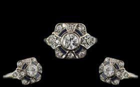 Edwardian Period 1902 - 1910 Attractive Platinum Pave Set Diamond and Sapphire Dress Ring.