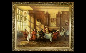 Oleograph After Frank Moss Bennett depicting gentlemen feasting and drinking in an elegant room