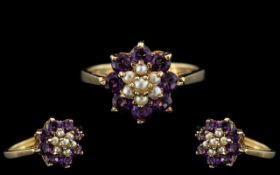 Ladies - Attractive 9ct Gold Amethyst and Seed Pearl Set Ring. Full Hallmark for 9.