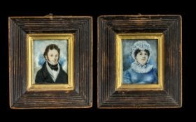 Pair of Antique Primitive Portrait Miniatures, painted on ivory, of Mr and Mrs J.
