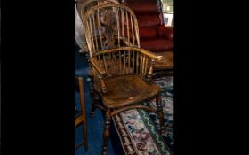Reproduction Hoop-Backed Windsor Armchair with a fretted lyre shaped splat, with spindles and
