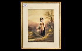 Antique Watercolour Drawing of a Girl in a Country Setting, signed Sholoti, 35; framed and glazed,