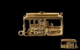 Stanhope - Interesting 14ct Gold Charm - In the Form of a San Francisco Cable Car,