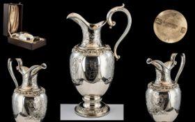 Garrard of London Fine Quality - Elizabeth II Sterling Silver Wedding Commemorative Claret Jug.