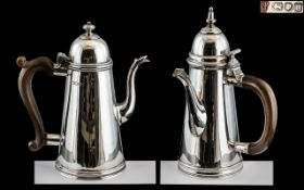 George VI Fine Quality Pair of Sterling Silver Queen Anne Shaped Chocolate Pot and Teapot,