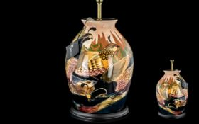 Black Ryden for Moorcroft Table Lamp, depicting birds and foliage.
