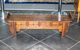 Chinese Kang Side Cabinet of traditional form, with four artist's drawers to the front,