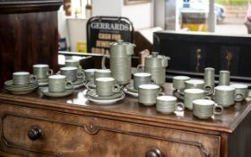 Denby 'Chevron' Tea/Coffee Service circa 1965, comprising 10 tea cups, 5 coffee cups, 11 saucers,