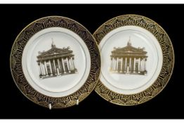 Pair of Cabinet Plates issued by the Royal Exchange London, Head Office of Guardian Royal Exchange