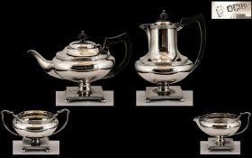 Art Deco Period Designed Superb Quality ( 4 ) Piece Tea Service ( Excellent Design ) From 1930.
