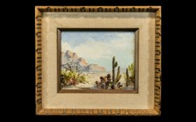 Palm Springs USA Modern School Oil on Canvas Titled 'Studio in the Desert', signed Marjo Schumacher,