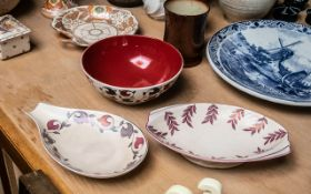 Collection of Pottery Items. Comprises Grimwade Bowl - Terracotta and Grape Design, Faint Stamp to