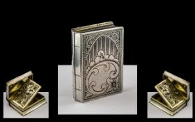 Victorian Period Silver Vinaigrette In the Form of a Book,