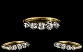 Ladies 18ct Gold - Attractive 5 Stone Diamond Set Ring - Gallery Setting. Marked 18ct to Interior of
