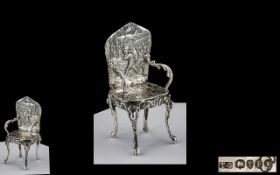 Victorian Period Superb Sterling Silver Miniature Elaborate Arm Chair Decorated In High Relief with