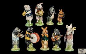 Complete Set of Vintage Beswick Pig Promenade Band Figures, including Michael Bass Drummer PP6,