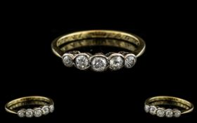 18ct Gold Attractive 5 Stone Diamond Set Ring. Marked 18ct to Interior of Shank. The Five Pave Set