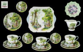 Shelley - Superb Part ( 15 ) Piece Tea Service ' Woodland ' Design. Pattern No 13348.