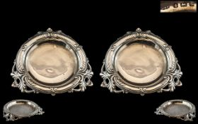 Edwardian Period - Quality Pair of Sterling Silver Ornate Pin Dishes of Round Form, Ornate Borders,