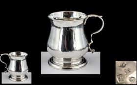 A George III - Superb Sterling Silver Baluster Shaped Christening Mug with Leaf Capped Scroll