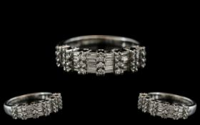 Ladies 18ct White Gold Baguette and Brilliant Cut Diamond Set Ring with Full Hallmark for 18ct -