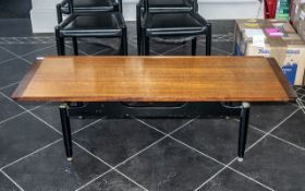 G Plan Tola Coffee Table Circa 1950's, ebonised legs and brass casters. Height 15.