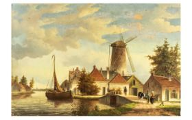 Oil on Board of Dutch Village Scene. Antique Oil Painting of a Village Scene of People, A Cow on the