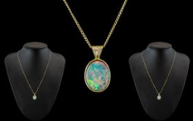 Antique Period - 19th Century Attractive 15ct Gold Opal and Diamond Set Pendant,