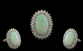 18ct White Gold - Superb Quality Opal and Diamond Set Dress Ring or Impressive Proportions / Design.