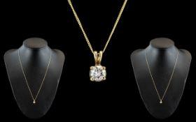 A Fine 18ct Gold Single Stone Diamond Set Pendant, Attached to a 9ct Gold Chain.