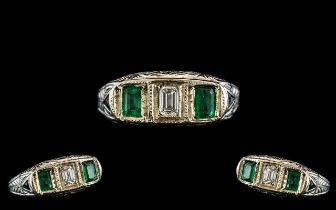 Antique Period - Attractive Platinum Pave Set 3 Stone Emerald and Diamond Dress Ring. Marked