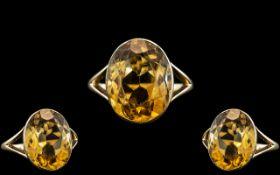 Ladies - Attractive 14ct Gold Single Stone Citrine Set Ring.
