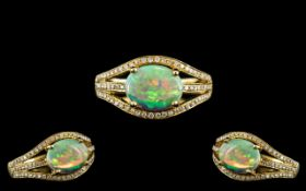18ct Gold - Attractive Diamond and Opal Set Ring, Excellent Opal with Strong Colours,