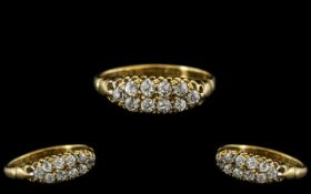 Antique Period - Attractive 18ct Gold Diamond Set Ring In a Gallery Setting.