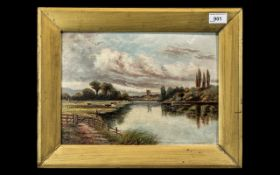 Oil Painting on Canvas Glued on Board, signed Horace W.Walker (attributed), depicting a river