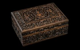 Finely Carved Antique Indian Sandalwood Trinket Box,