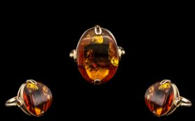 Ladies - Attractive 14ct Gold - Natural Amber Set Dress Ring ( Single Stone ) Excellent Setting.