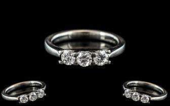 Ladies Superb 18ct White Gold 3 Stone Diamond Ring. The Round Brilliant Cut Diamonds of Top Colour /