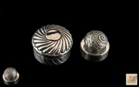 Two Small Round Edwardian Silver Pill Boxes, A Barrett & Sons, Piccadilly, London, each 1.
