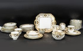 Noritake Tea Service 'Basket of Flowers' comprising five cups, saucers,