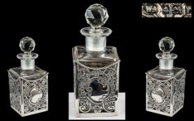 Edwardian Period - Open worked and Ornate Silver Mounted Glass Scent Bottle of Pleasing Proportions.
