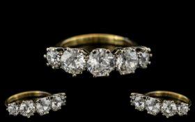 18ct Gold and Platinum - Superb Quality 5 Stone Diamond Set Ring.