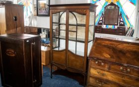 Edwardian Display Cabinet, double doors, glass inlaid display cabinet,
