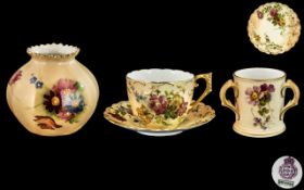 Royal Worcester - Fine Trio of Blush Ivory Pieces, All with Hand Painted Images of Spring Flowers.
