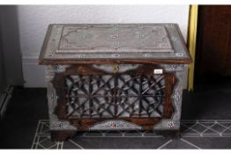 20th Century Saudi Arabian Blanket/Dowry Chest, overlaid throughout in silvered metal, fine