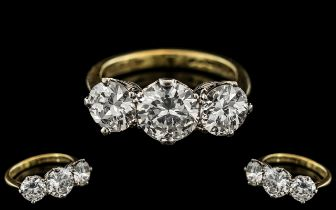 18ct Gold and Platinum - Superb 3 Stone Diamond Set Ring. Full Hallmark to Interior of Shank. The