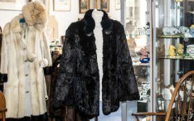 Vintage Dark Brown Jacquard Design Fur Jacket, hook and eye fastening, two slit pockets,