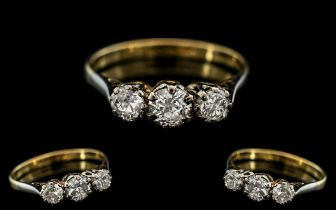 18ct Gold - Attractive 3 Stone Diamond Ring. Marked 18ct to Interior of Shank. Diamonds of Good