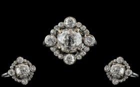 Edwardian Period 1902 - 1910 Stunning 18ct White Gold Diamond Set Cluster Ring.