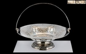 Edwardian Period - Superb Quality Sterling Silver Open worked Swing Handle Pedestal Fruit Bowl.